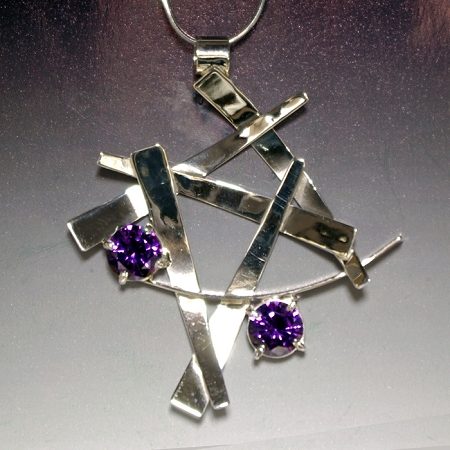 Alexandrite Silver Wisps Necklace